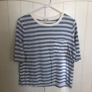 Oversized striped pocket T
